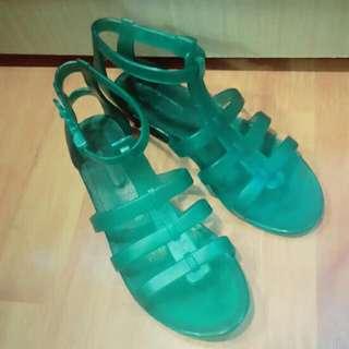 轉賣 果凍綠羅馬涼鞋