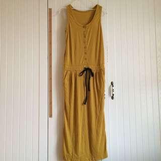 休閒銘黃色排扣棉質腰間抽繩連身背心洋裝