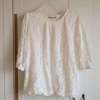 日系蕾絲氣質六分袖白色上衣