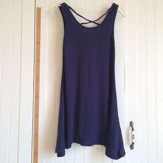 藍紫色背後黑珠珠交叉背心洋裝裙