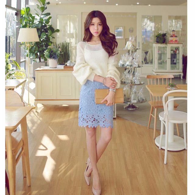 全新-蕾絲鏤空包臀裙-淺藍2XL