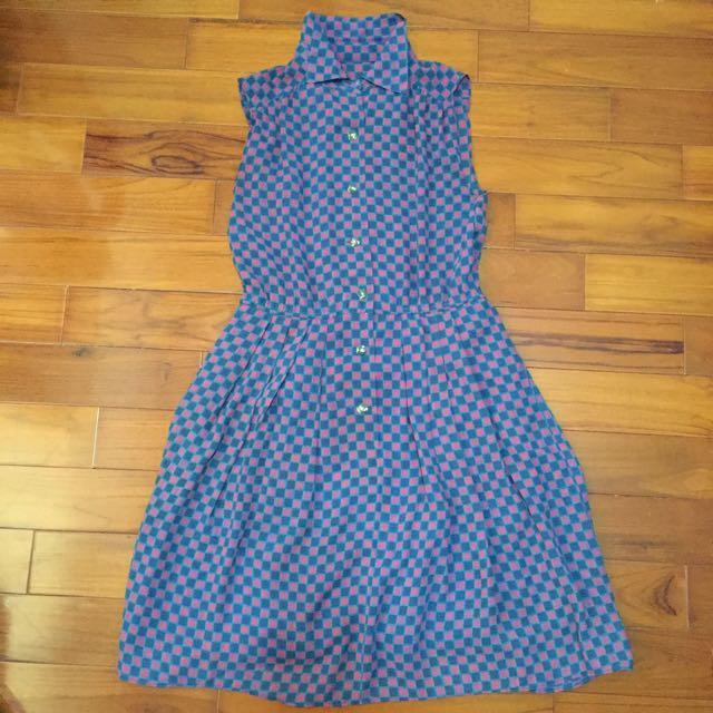 待匯款✨古著粉紅深藍格子洋裝✨