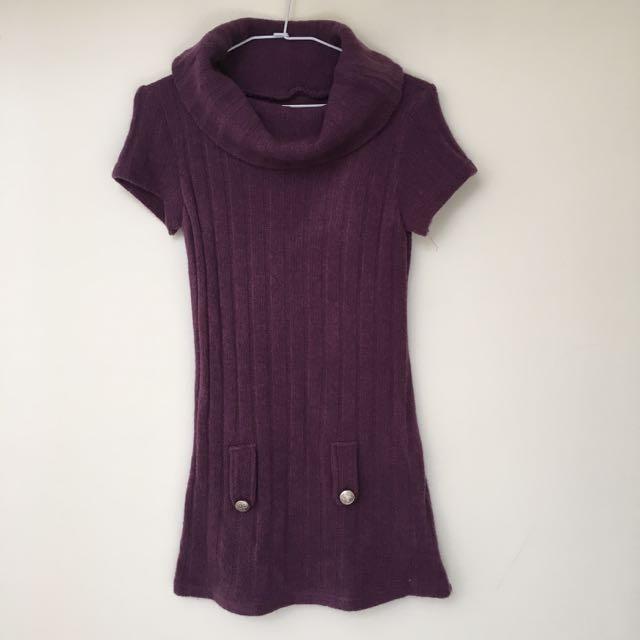 紫色翻領長版短袖針織上衣