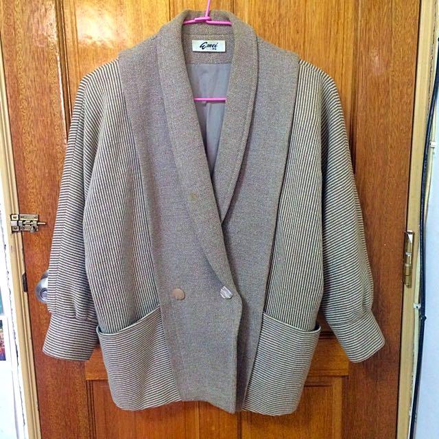 Vintage古著大衣復古飛鼠袖