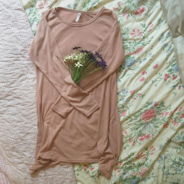 正韓粉色長袖連身裙
