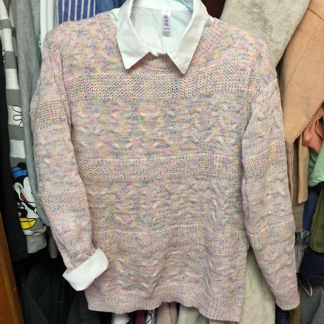 石英粉紅彩色針織毛衣