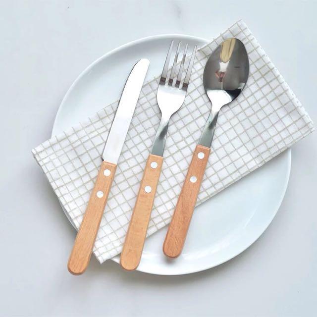 櫸木方形手柄西餐刀叉勺套装