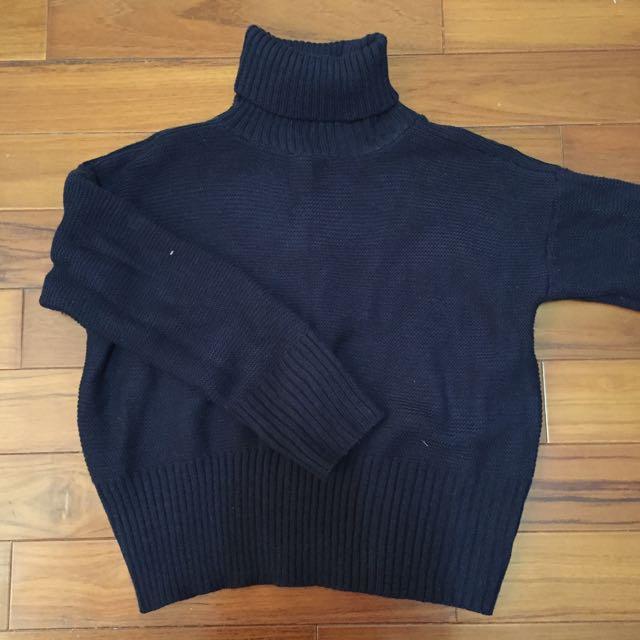 ✨高領短版針織上衣_深藍色✨