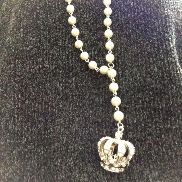 珍珠 皇冠水鑽項鍊