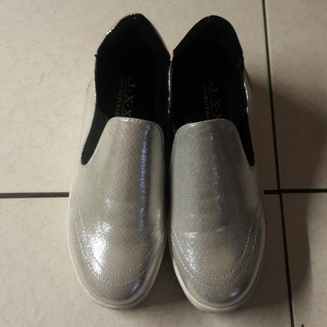 (出清) 銀色 金蔥 厚底 懶人鞋 便鞋