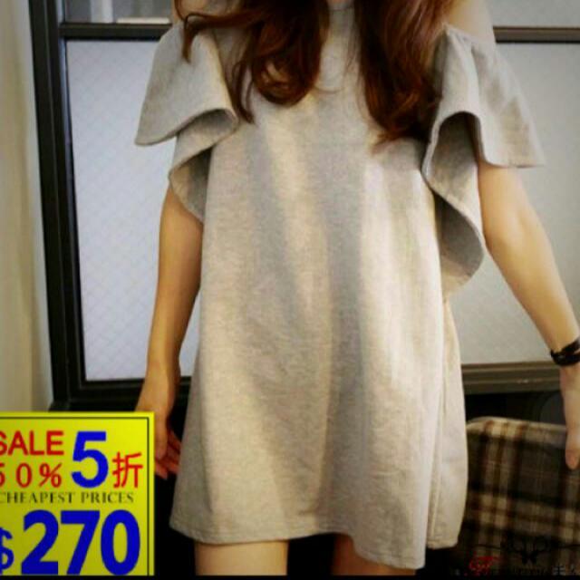 二手荷葉邊洋裝(灰)另有白、線條顏色 @ NT$200