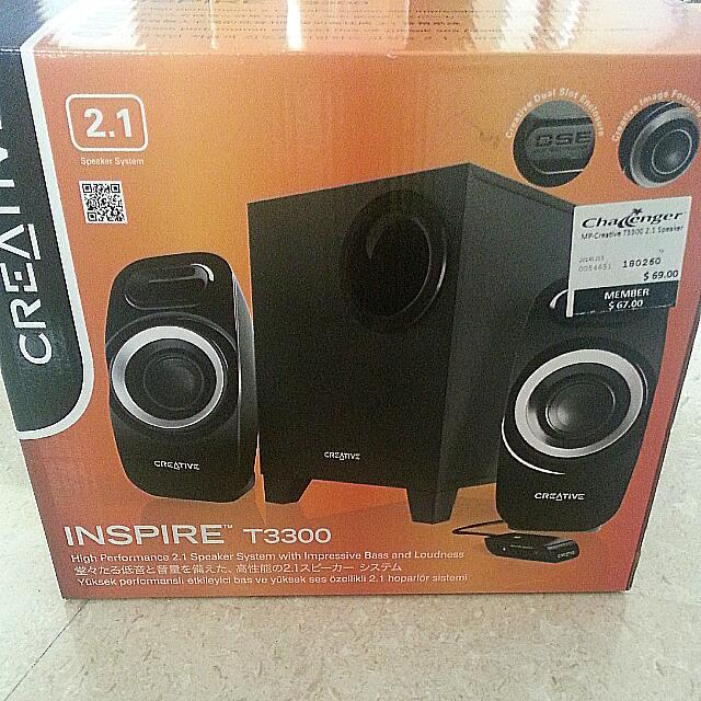 Creative Inspire T3300 High Performance 2.1 Speaker System (Mint) (Packed)