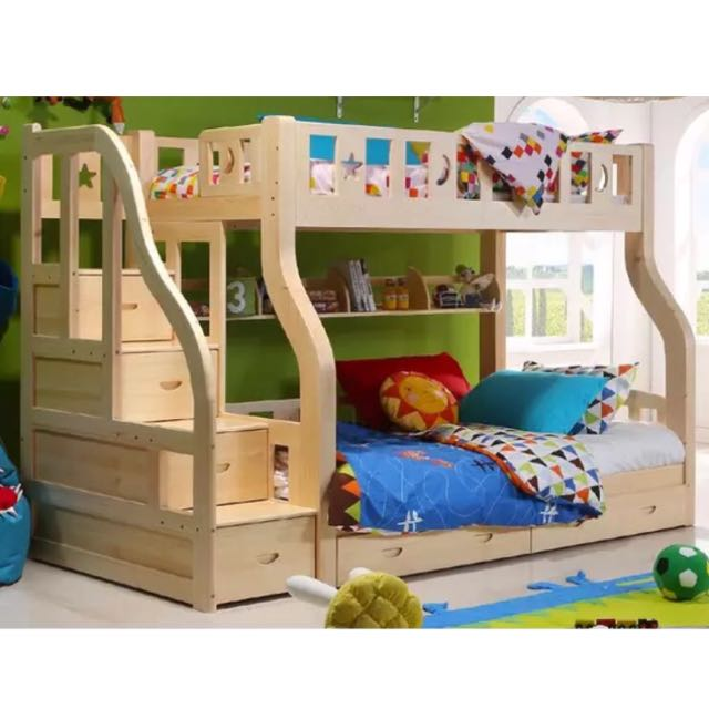 Double Deck With Pull Out Bed Nature Pine Wood Bed Frame 3