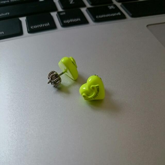 JUICY COUTURE neon Yellow Heart Stud Earrings