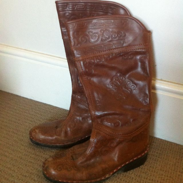 Leather Boots New Handmade In Mongolia