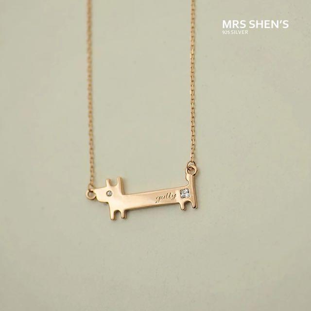 S182 925純銀 可愛甜美清新氣質簡約百搭萌鍍玫瑰金項鍊
