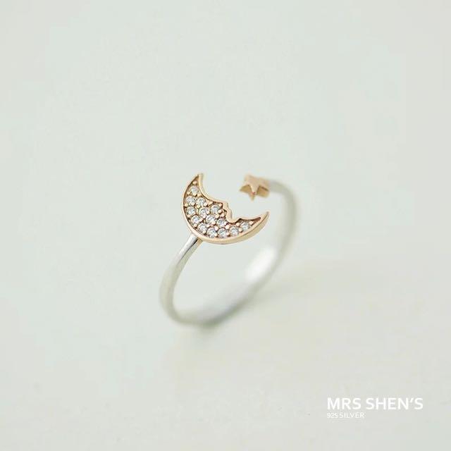 S184 925純銀 淑女氣質月亮星星玫瑰金鑲鑽戒指