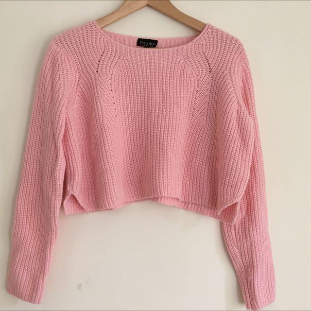 Topshop粉色微短版毛衣 香港topshop購入