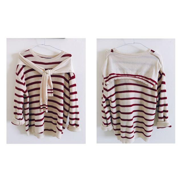 紅x米白條紋針織上衣