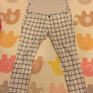 日本格紋棉質孕婦長褲