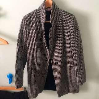 Fleece-lined Houndstooth Coat