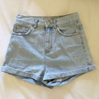 Topshop Petite High-Waisted Denim Shorts