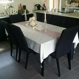 6 Seater Dining Table Black Glass Top