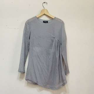 Hunting Fields - Grey Asymetrical Long-Sleeve Blouse