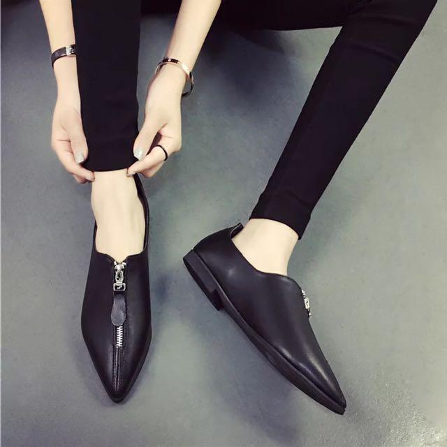 1305 春季季新款尖頭英倫平跟平底鞋淺口學生休閒鞋