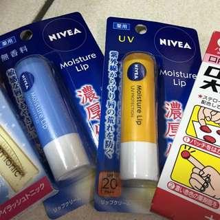 日本自由行帶回 Nivea 護唇膏 全新未拆封(一隻抗uv 一隻無添加香料)