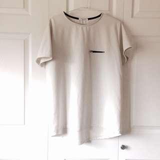 寬版拉鍊白色上衣