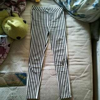 顯瘦條紋長褲
