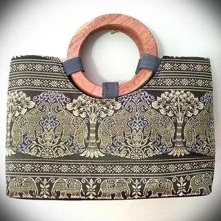 Gray Ethnic Handbag