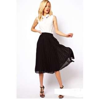 🆕 High Waist Chiffon Pleated Skirt (Ready Stock) (New)