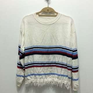 免運🖖🏼紅藍條紋針織流蘇毛衣