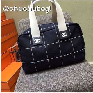 chanel 38cm 格子線 保齡球包 購物包 小旅行包