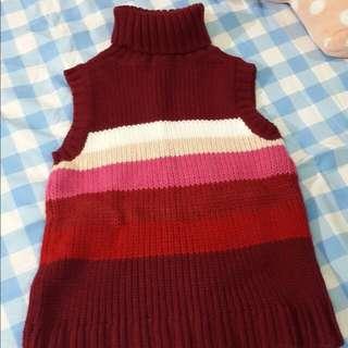 🚚 粗針織 高領無袖紅粉漸層色毛衣