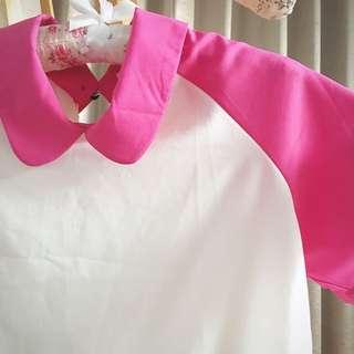 桃紅短袖上衣
