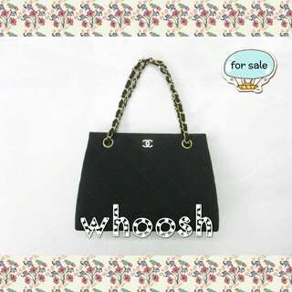 d45f0a237f40 Chanel Vintage Small Tote Black Canvas Bag GHW