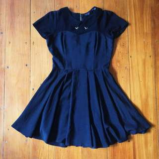 black a-line dress with collar ✖️ size 8