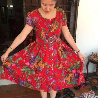 Vintage Red Fruit Dress Size M