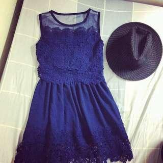 蕾絲深藍氣質舞會洋裝