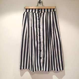 黑白直條紋復古裙 前排釦 布料挺