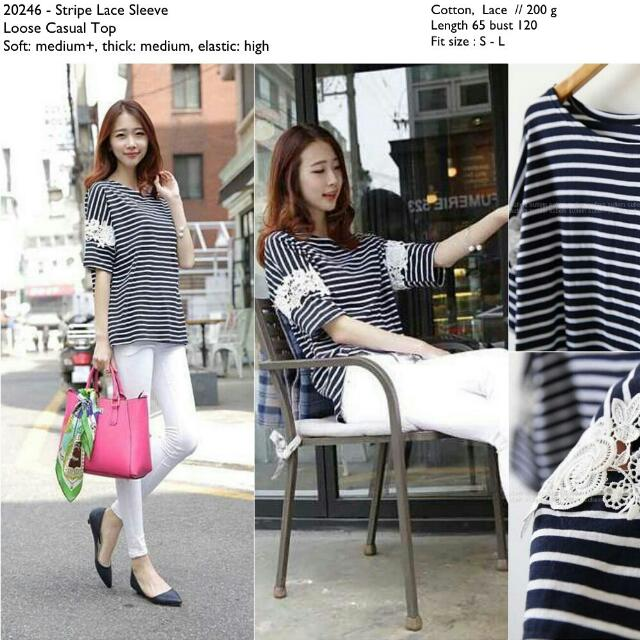 20246 Stripe Lace Tee