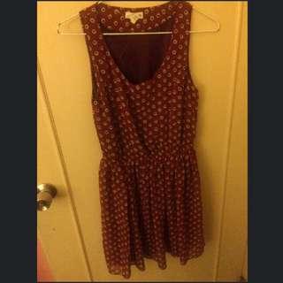 紅色縮腰洋裝