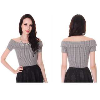 Mds Off Shoulder Top In Checkered