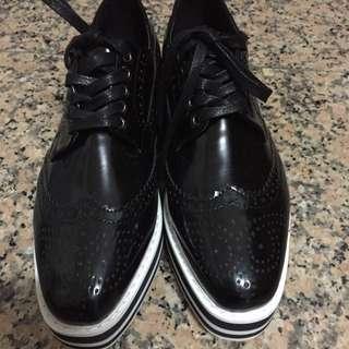 全新 正韓 黑色紳士夾心厚底鞋(原$1480)#爸爸節八折