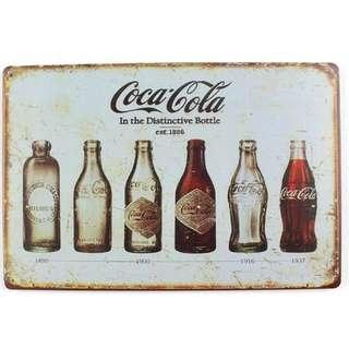 復古鐵牌-可樂玻璃罐{20x30cm}