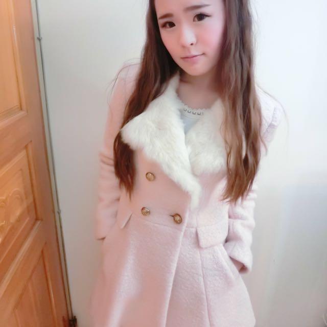 韓國毛領排扣外套