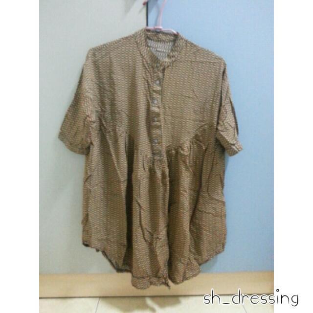 五分袖寬鬆花紋連身裙